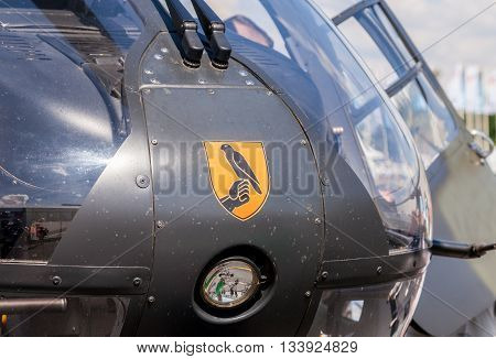 BERLIN / GERMANY - JUNE 3 2016: airbus ec 135 helicopter from german army on airport schoenefeld berlin / germany at june 3 2016.