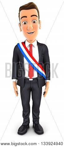 3d businessman wearing french mayoral sash illustration with isolated white background