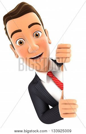 3d businessman peeping over blank wall illustration with isolated white background