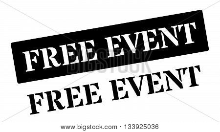 Free Event Black Rubber Stamp On White