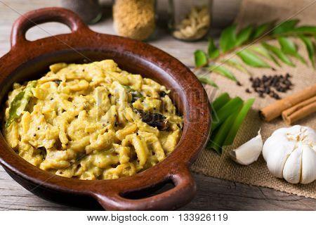 Jackfruit curry or kiri kos in clay pot Sri Lankan food