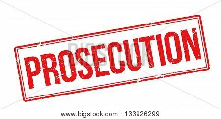 Prosecution Red Rubber Stamp On White