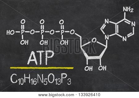 Blackboard with the chemical formula of ATP