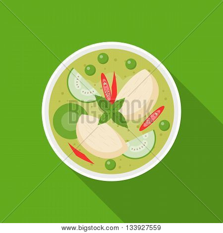 Thai food, Chicken with Green curry, flat design