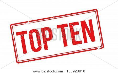 Top Ten Red Rubber Stamp On White