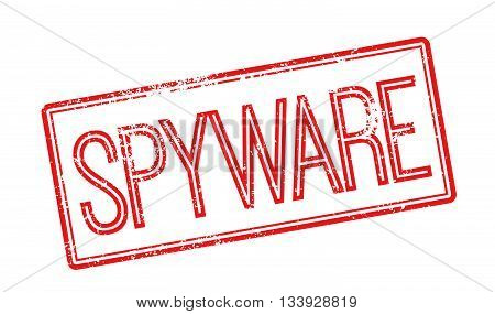 Spyware Red Rubber Stamp On White