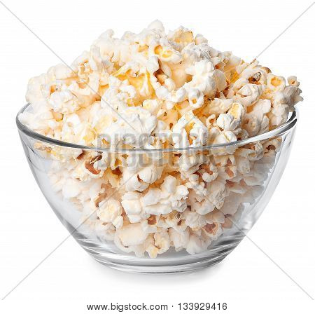 Glass bowl full of popcorn isolated on white background. Popcorn. Bowl of fresh popped popcorn. Bowl of popcorn