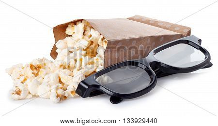 popcorn in paper box with 3d movie glasses isolated on white background. Popcorn. 3D cinema concept