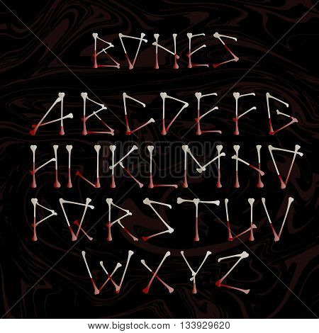 Alphabet made of crossed white bones. Vector silhouette uppercase alphabet letters shaped as bones isolated on black for Halloween, pirates, medical and horror concepts, vector design element.