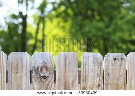Looking over a backyard fence with trees in the background