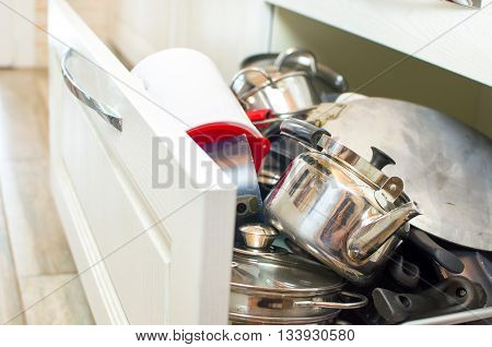 drawer pots pans steel teapot chores household space
