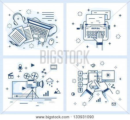 Set of vector illustrations in modern linear style, text editing, publishing, typewriter and a laptop