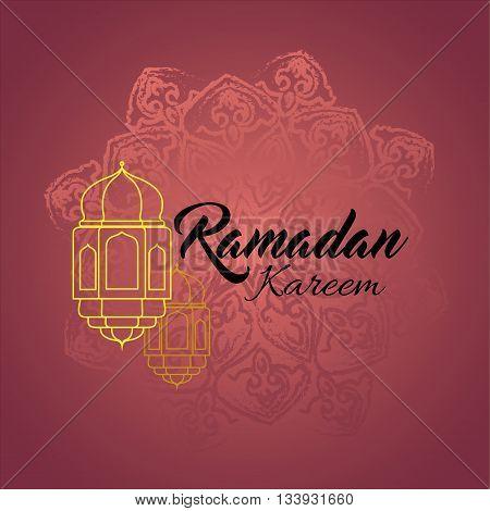 Illustration of Ramadan kareem and Ramadane mubarak with lantern. Traditional greeting card wishes holy month moubarak and karim for muslim and arabic