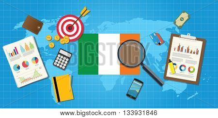 ireland economy economic condition country with graph chart and finance tools vector graphic illustration
