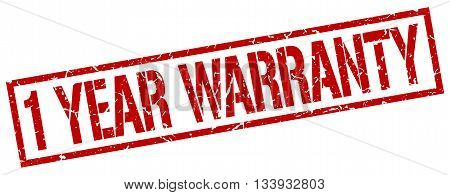 1 Year Warranty Stamp. Vector. Stamp. Sign. 1.year.warranty. Red.