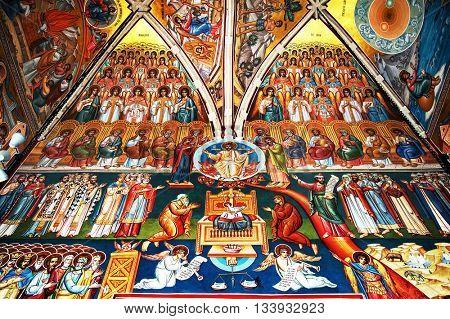 VORONET MONASTERY, 24 October 2015 - Orthodox painting of Voronet Monastery painted wall, Unesco Heritage, Moldavia, Romania