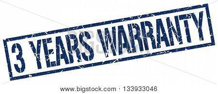 3 Years Warranty Stamp. Vector. Stamp. Sign. 3.years.warranty. Blue.