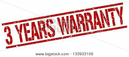 3 Years Warranty Stamp. Vector. Stamp. Sign. 3.years.warranty. Red.
