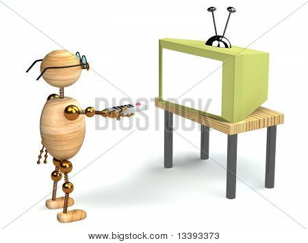 3D Wood Man Is Watching Tv