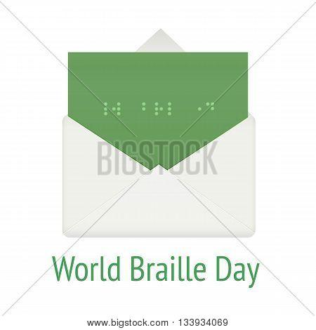 World braille day concept. Communication system script for blind, vector illustration