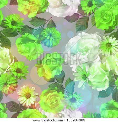 art vintage monochrome green blurred floral seamless pattern with roses, asters and peonies on light background. Bokeh effect