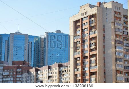 View of the residential building in microdistrict Ribatskoe on the outskirts of St. Petersburg Russia. poster