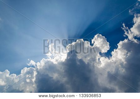 Rays of God through the clouds in the sky