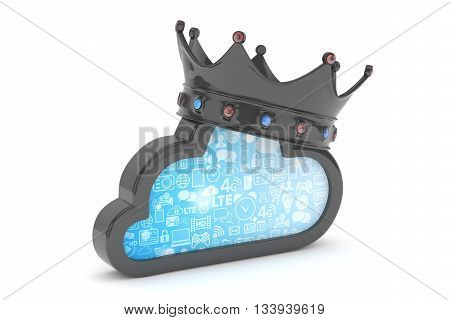 Isolated black cloud icon with crown and gems on white background. Symbol of communication, network and technology. Broadband. Online database. 3D rendering.