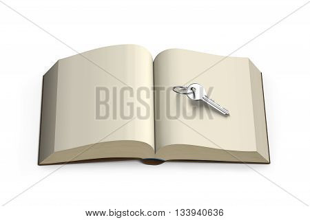 Key On Opening Book Isolated In White , 3D Rendering