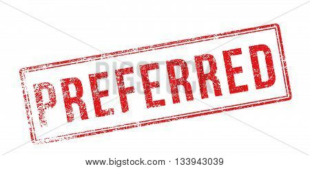 Preferred Red Rubber Stamp On White