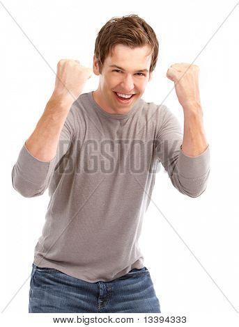 Happy smiling young man. Isolated over white background