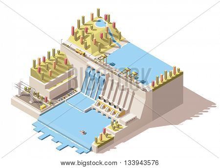 Vector Isometric icon or infographic element representing hydroelectric power station with dam on the river, water reservoir, flowing water from turbines and power lines