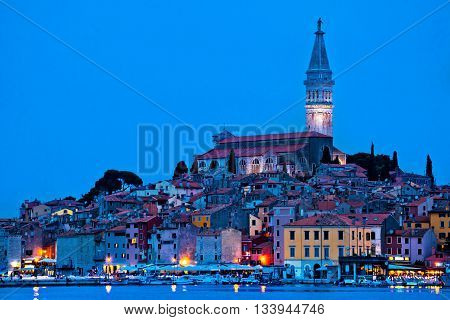 Tovn of Rovinj bluer hour view Istria Croatia