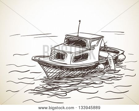 Sketch of boat, Hand drawn vector illustration
