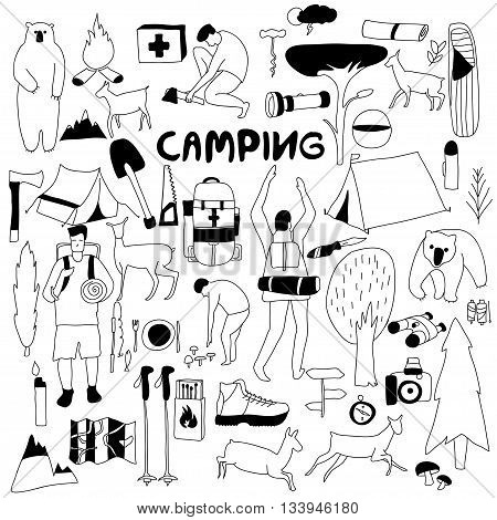Vector hand drawn cartoon seamless camping icons. Picnic travel and camping theme. Black and white camping icons. Textil paper polygraphy game web design