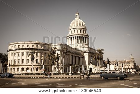 A vintage image of the Capitol or Capitolio of Havana in Cuba