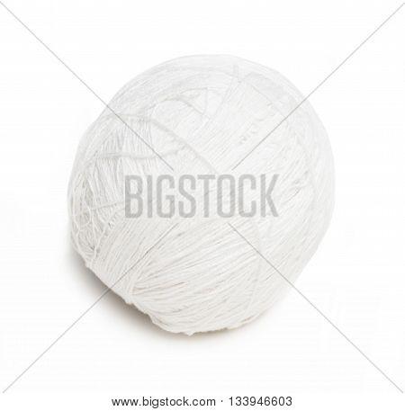 ball of white yarn isolated on white background