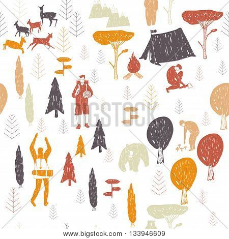 Vector hand drawn cartoon seamless camping pattern. Picnic travel and camping theme. Retro colored camping pattern. Textil paper polygraphy game web design