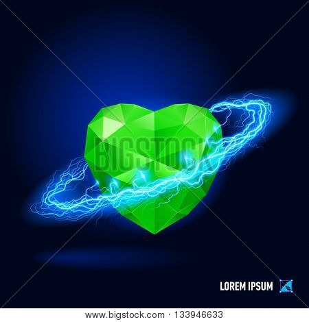 Green diamond in form heart surrounded by a stream of blue energy in the space