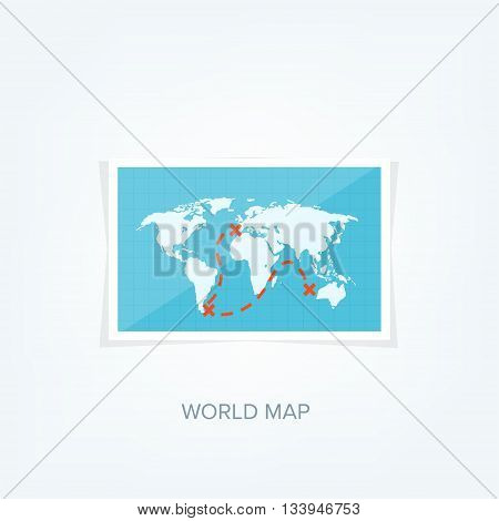 World map flat style earth globe vector photo bigstock world map in a flat style earth globe navigation route and destination gumiabroncs Choice Image