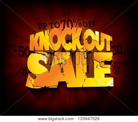 Knockout Sale typographic design with gold broken text against deep red rays backdrop. sale layout design. Vector illustration