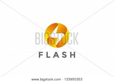 Flash Logo circle design Lighting bolt electricity Power icon