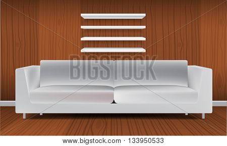 Vector White Empty Shelf and modern minimalism style white sofa. Isolated on Wall Background. Luxury Display Mock-up