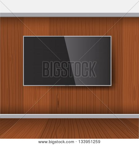 Smart TV Mock-up Vector TV Screen LED TV hanging on the wood wall. TV with wooden interior background.