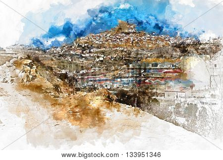Digital watercolor painting of Morella. Morella is an ancient gothic city located on a hill-top in the province of Castellon Valencian Community Spain.