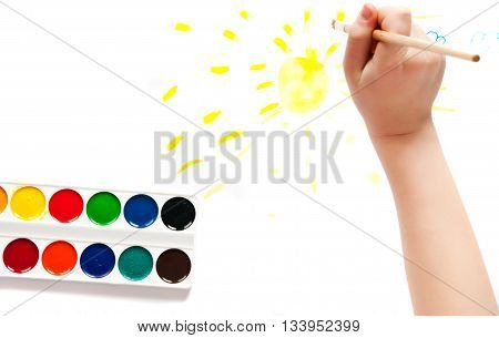 two handprints made with paint on paper isolated on a white background