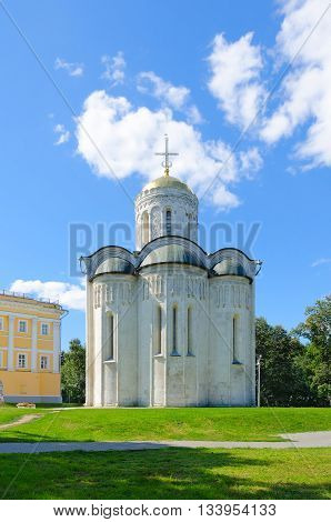 VLADIMIR RUSSIA - AUGUST 21 2015: Dmitrievsky (Dmitrovsky) Cathedral in Vladimir Golden Ring of Russia. Monument of UNESCO World Heritage site