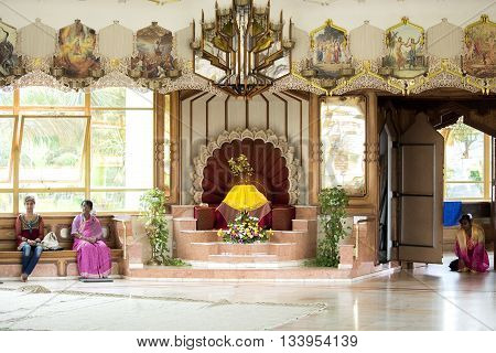 Durban South Africa - March 20 2016: Hare Krishna Temple of Understanding. Inside. Artistic retouching.
