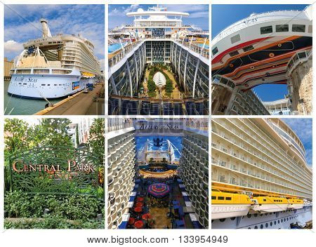 Barselona, Spain - September, 6 2015: The collage from six images of the cruise ship Allure of the Seas, The Royal Caribbean International. Exterior and interior views of the ship