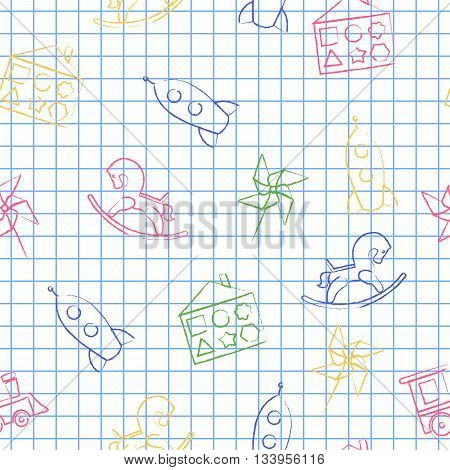 Seamless pattern back to school. Vector White sheet blue squared writing ink Hand-drawn style. Seamless vector wallpaper with the image of rocking horse, rocket, locomotive, whirligig